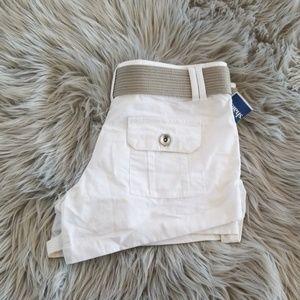 White Dollhouse shorts with gray (grey) belt